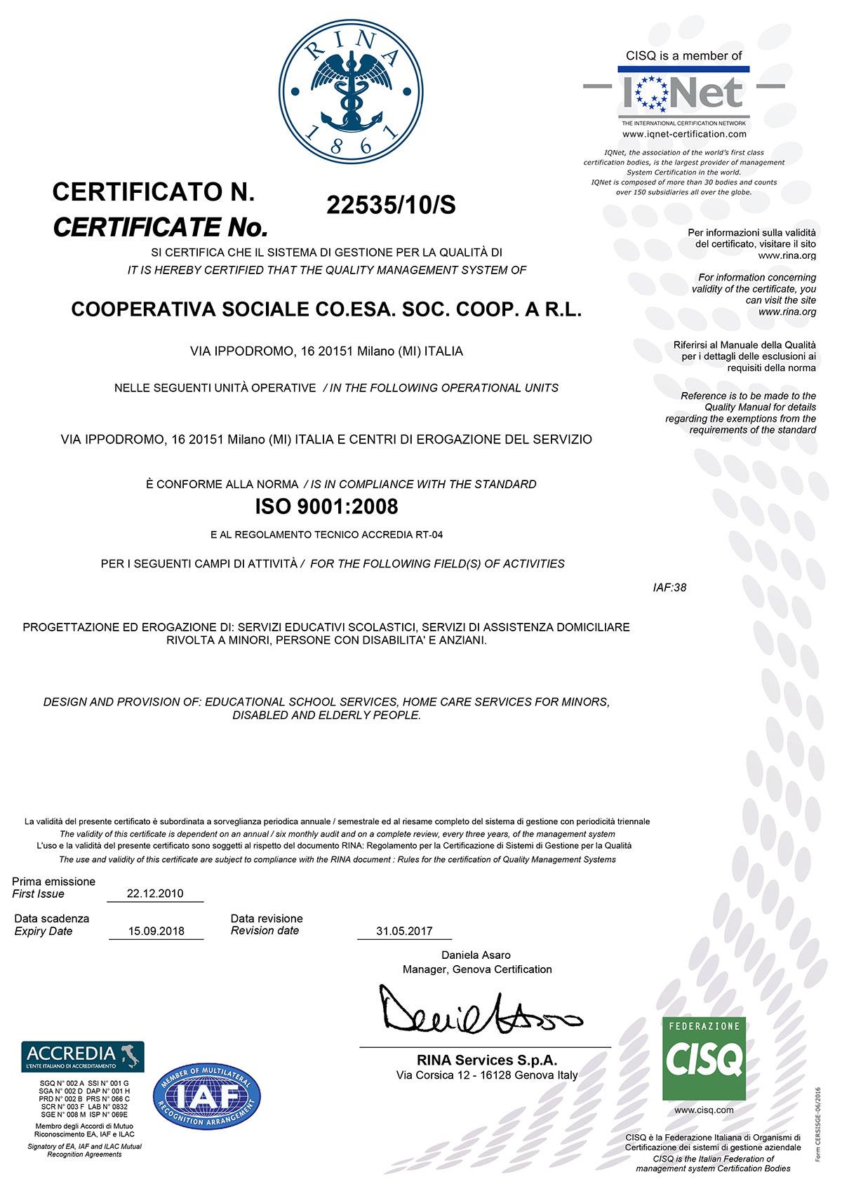 Coesa Coop_Certificato_Qualita_2017